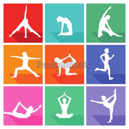 gymnastik figuren und fitness kollektion isoliert