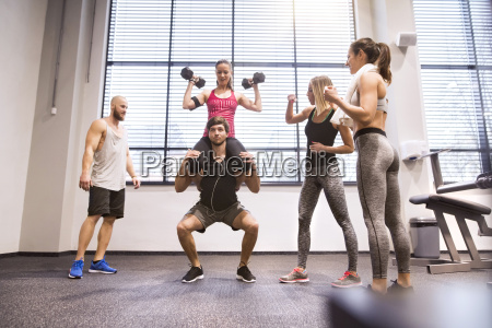 young people doing fitness training in