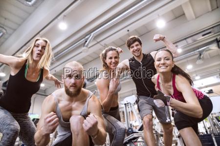 fit friends having fun in gym