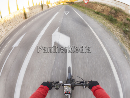 personal perspective of cyclist on a