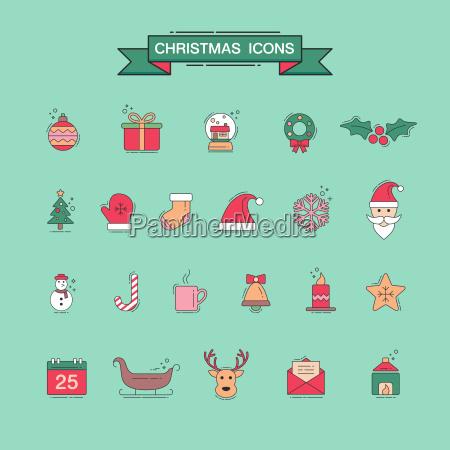 weihnachten element symbole fuer designs postkarteeinladungposter