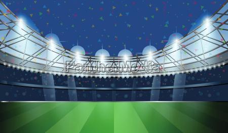 fussballstadion mit spotlicht fussball arena vektor