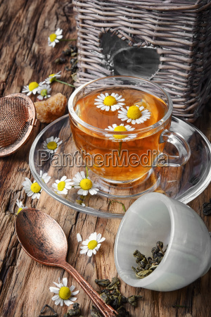herbal tea with fresh chamomile flowers