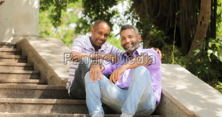 portrait of two gay men smiling