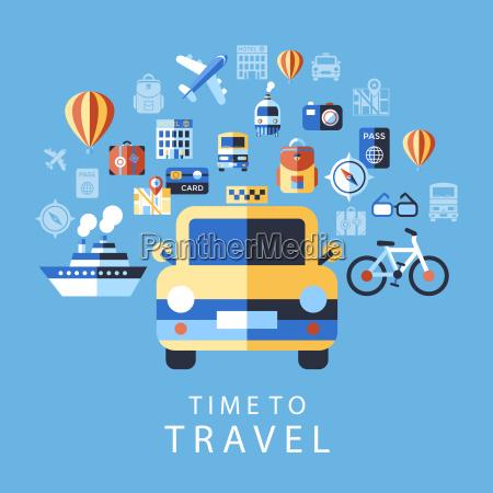 digital vector blue summer time travel