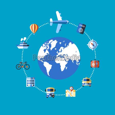 digital vector blue travel icons set