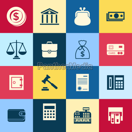 digital vector blue business icons with