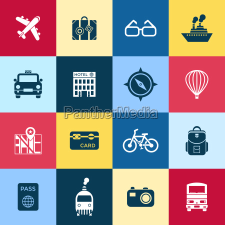digital vector red blue travel icons