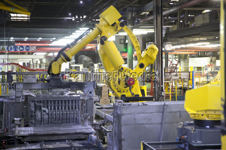 robotic production line in engine manufacturing
