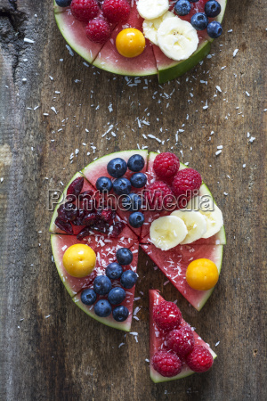 fruitcake made of watermelon garnished with