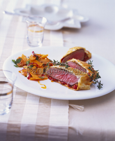 lamb filet wrapped in puff pastry