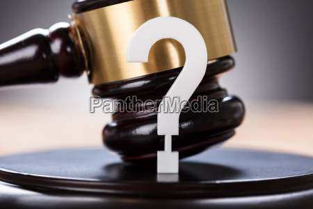 question mark and auction gavel