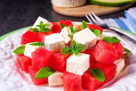 greek salad with watermelon feta and