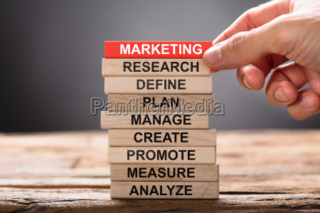 hand building marketing concept with wooden